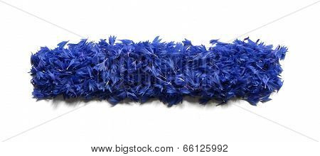 Minus Sign Made Of Flowers (cornflowers) Isolated On White Background