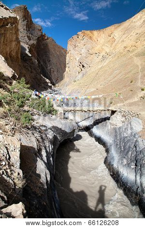 Canyon With Bridge And - View From Zanskar Trek - Ladakh - Jammu And Kashmir - India