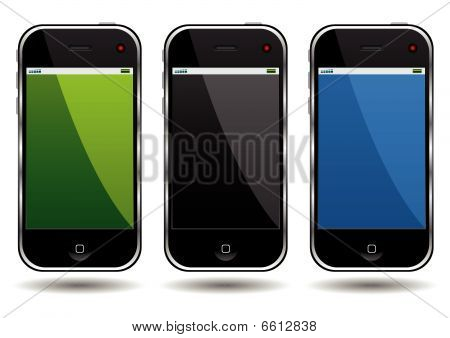 Modern cell phones isolated over white background poster