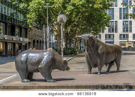 The Bull And Bear Statues At The Frankfurt Stock Exchange
