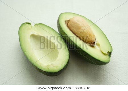 Ripe avocado on a white background stock photo