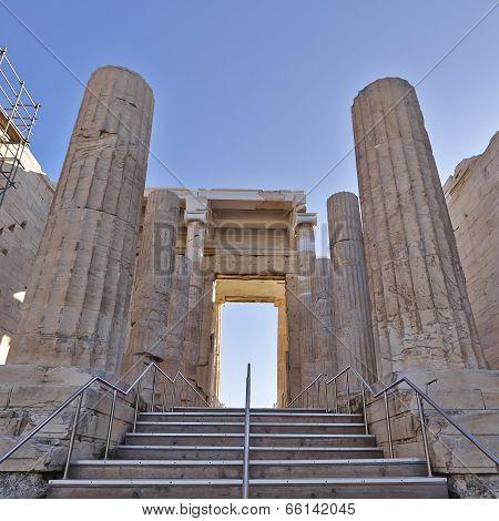 Propylaea the entrance of acropolis, Athens Greece