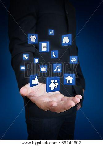 Hand Holding Technology Media Symbol