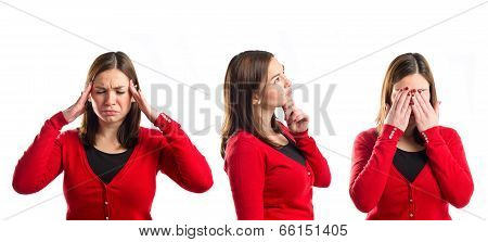 Young Asian Girl Covering Her Eyes, Thinking, And With Headache