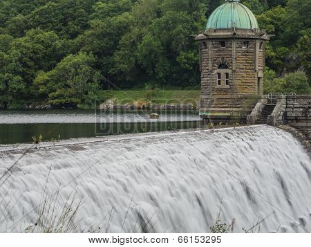 Dam at Pen-y-garreg in one the reservoirs in the Elan Valley in Wales, UK poster