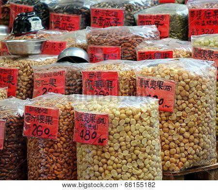Assorted Nuts In Big Sacks