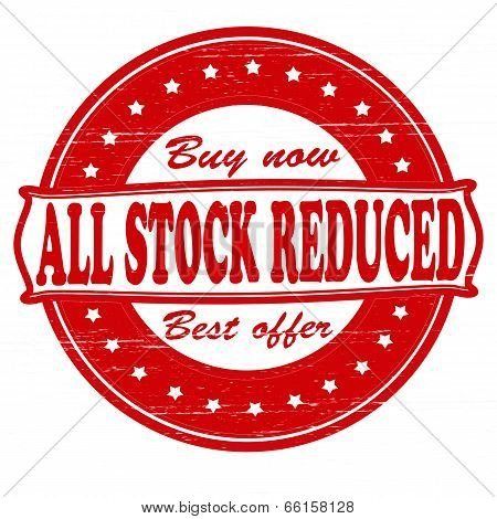 Stamp with text all stock reduced inside vector illustration