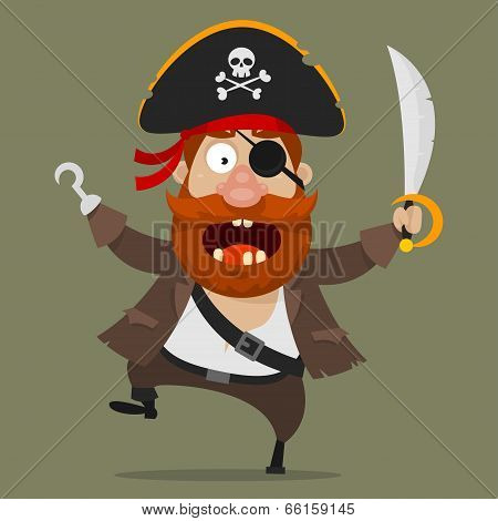 Angry pirate with sword