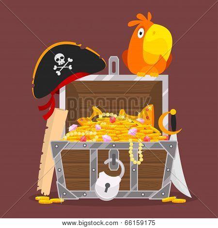 Illustration, chest of gold parrot hat saber card, format EPS 8 poster