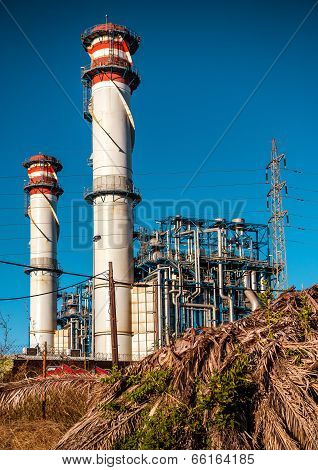 Oil Refinery In Algeciras Port City. South Spain