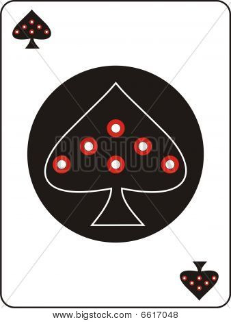 ace of spades with red dots on a black circle poster
