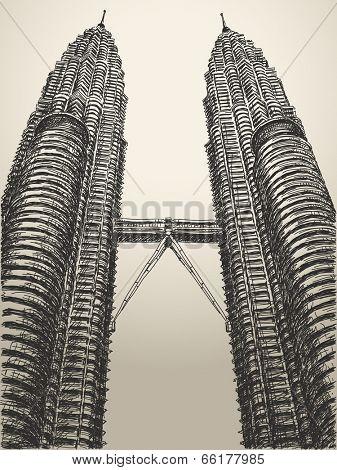 May 29, 2014: Petronas towers in Kuala Lumpur, Malaysia. Hand drawn sketch. Vector illustration.