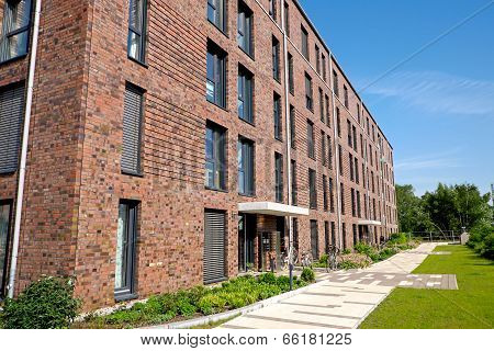 Modern red brick buildings