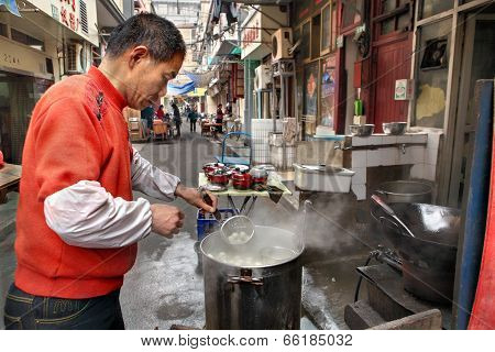 Street Food In Shanghai, Small Outdoor Eatery
