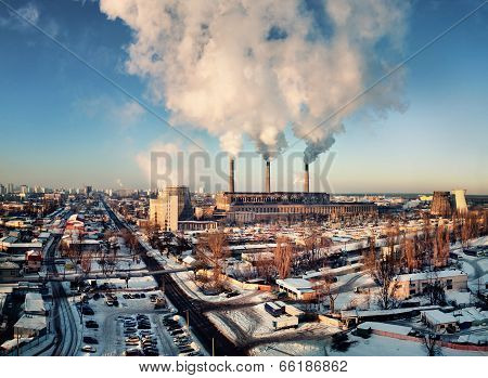 thermoelectric power station with smoking pipes
