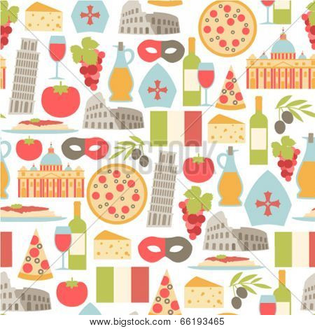 seamless pattern with Italy icons