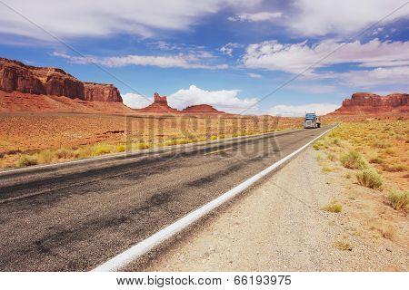 Road through Monument Valley in Arizona, USA poster