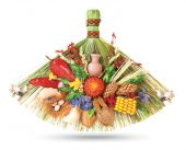 Traditional ukrainian souvenir that made of dried materials and plants. Hand-made. Isolated on white. poster