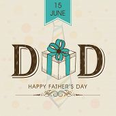 Beautiful greeting card design with stylish text Dad and gift box on grungy brown background for celebrations of Happy Father's Day.  poster