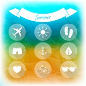 Summer holidays set of flat icons. Blurred summer background. Elements for web and mobile interface poster