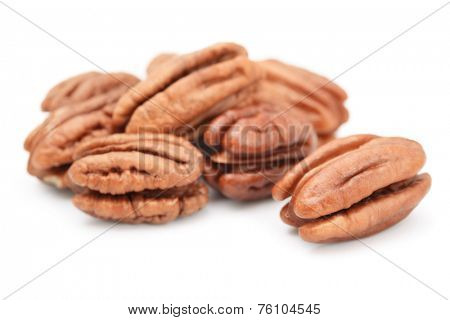 Peeled pecan nuts  isolated on white
