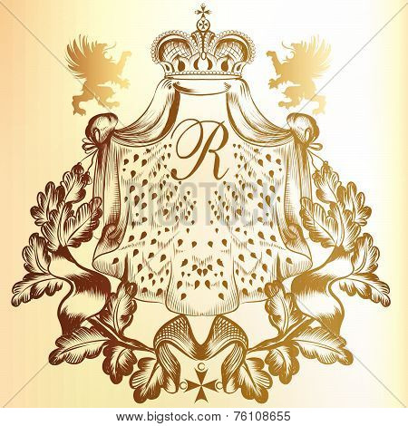 Vector heraldic illustration in vintage style with shield, armor, crown and swirl ornament for design poster