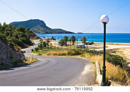 Morning at campers favorite site for summer vacations, near Destenika beach, Sithonia, Greece poster