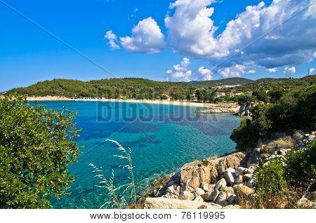 Beachscape of the Aegean sea, Destenika beach, Sithonia