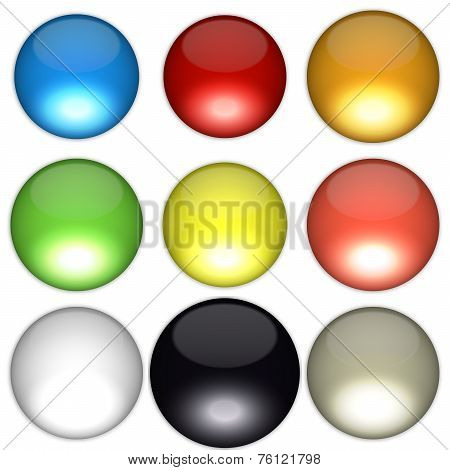 Colored balls arranged according to feng shui bagua diagram poster