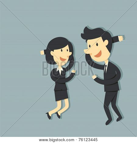 Business Couple high fiving