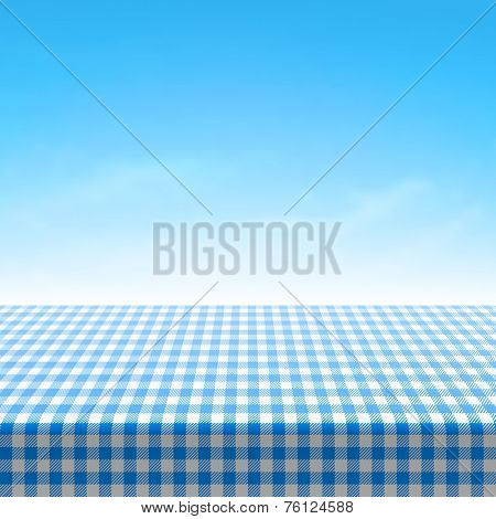 Empty picnic table covered with blue checkered tablecloth. Vector.