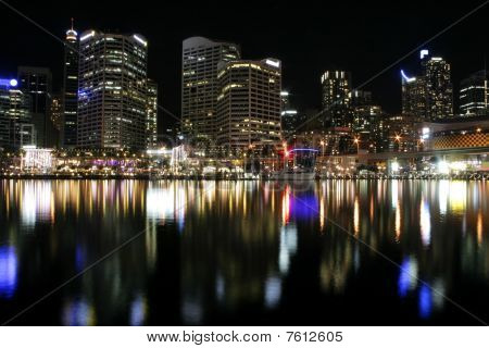 Darling Harbour Waterfront At Night