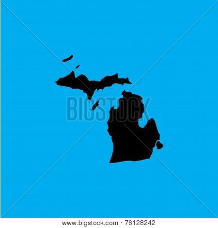 Coloured Background With The Shape Of The United States State Of Michigan