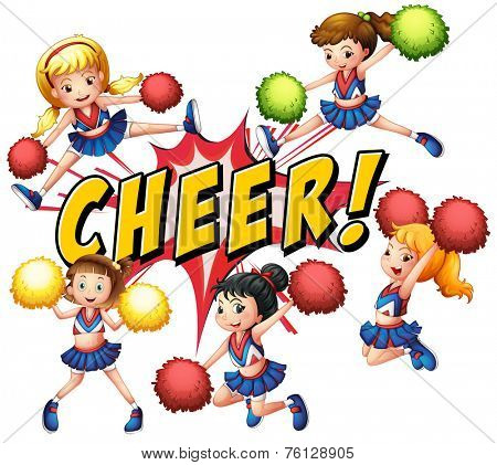 Cheerleaders cheering with text on white