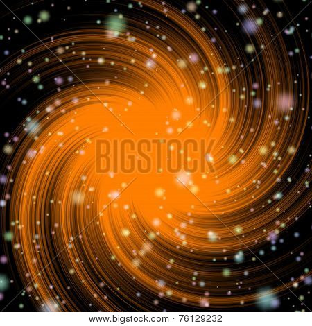Orange galaxy in black deep space