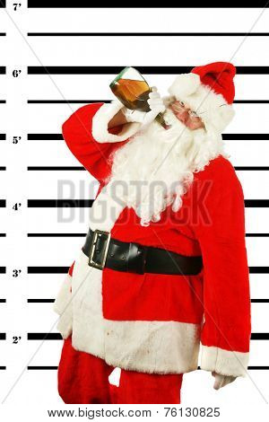 BUSTED. Santa Claus is arrested and his MUG SHOT taken at the Police Station. Santa was a Bad Bad boy. He was arrested for DUI. Driving his Sleigh under the Influence of Alcohol. Bad Bad Bad Santa