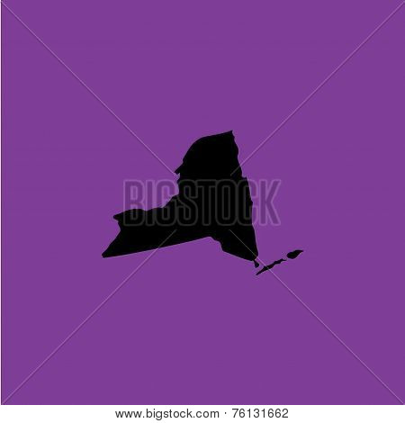 Coloured Background With The Shape Of The United States State Of New York