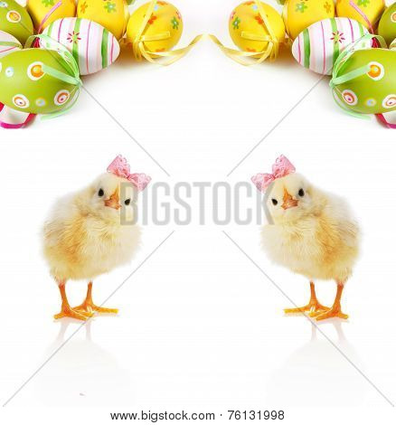 poster of Cute Fluffy chicks and Easter Eggs on a light background