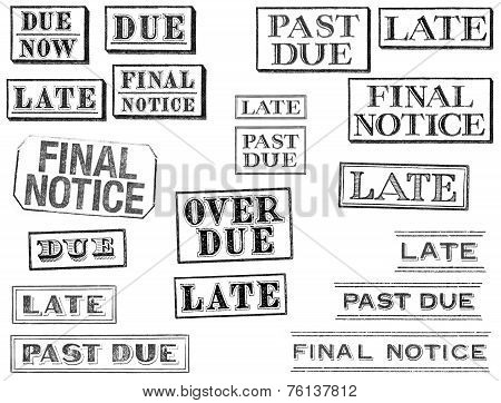 Distressed Late, Past Due, And Final Notice Stamps