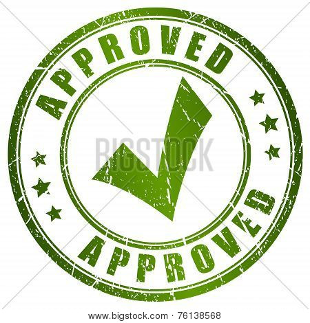 Approved tick stamp isolated on white background poster