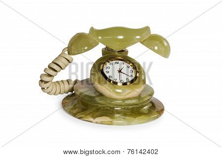 Souvenir from onyx stone retro phone instead dialer with a clock isolated on a white background poster
