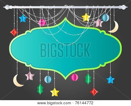 Hanging board with moon and stars for any special greetings in eps10 format