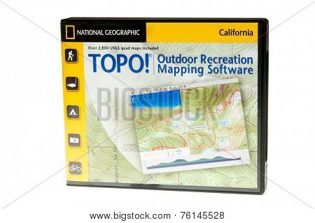Hayward, CA - November 11, 2014: Packaged TOPO! mapping softwareon CD's  by National Geographic