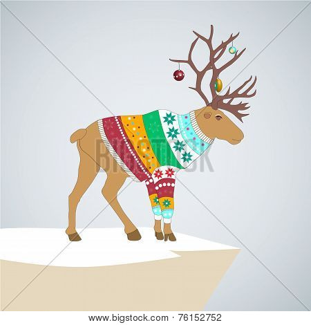 vector illustration. caribou in colored striped sweater with Christmas toys on the horns. poster
