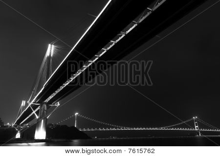 bridges in Hong Kong at night
