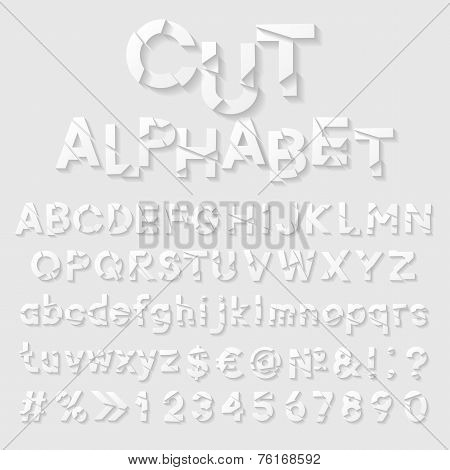 Decorative cut paper alphabet. Vector illustration
