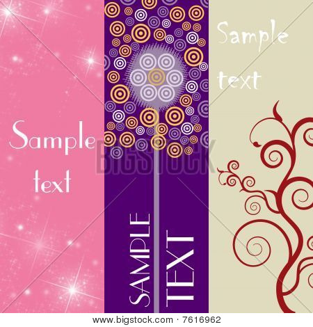 Three banners with colorful lines and floral element on colorful background. poster