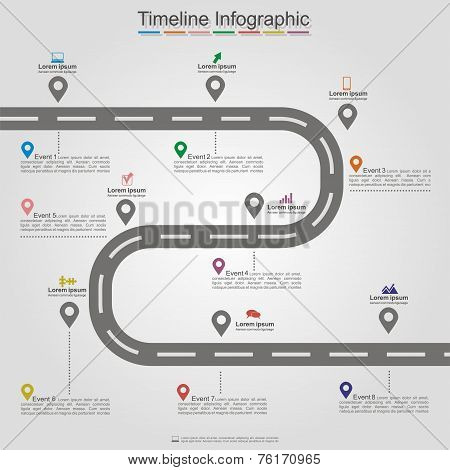 Road infographic timeline element layout. Vector