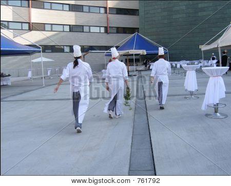 Chefs walking