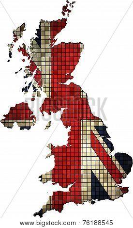 United Kingdom map with flag inside